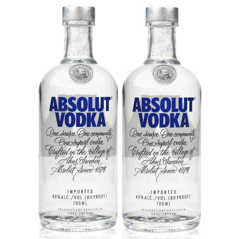 ABSOLUT VODKA/绝对伏特加(无珠)蒸馏酒700ml*1瓶